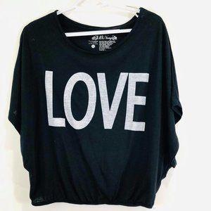 L. O. L. Vintage  Woman's Sz M TopTee Black  LOVE